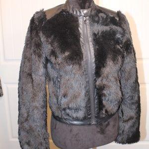 Beautiful Black Furry /Faux Leather Bomber Jacket